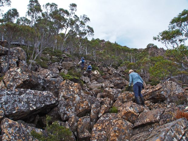 Making our way up the scree