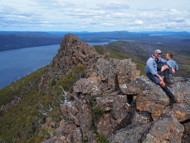 Ben and Graham enjoy the northern high point and the views it has on offer