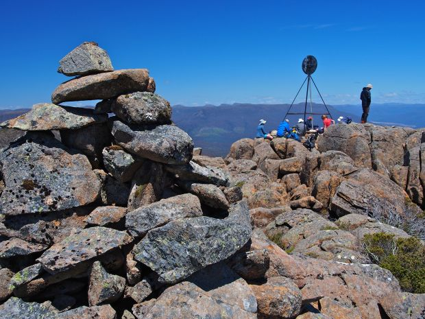 The cairn and trig, marking the summit