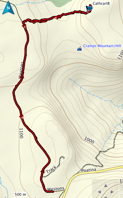 GPS route of Cathcart Bluff