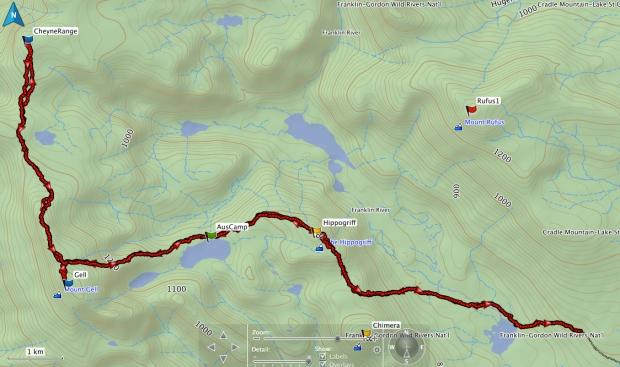 Mt Gell, Cheyne Range GPS route