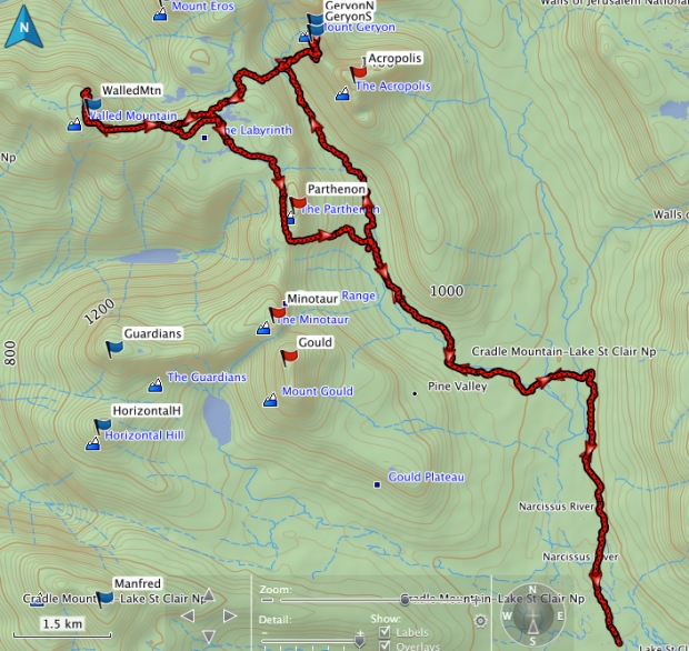 Geryon South and Walled Mountain GPS track