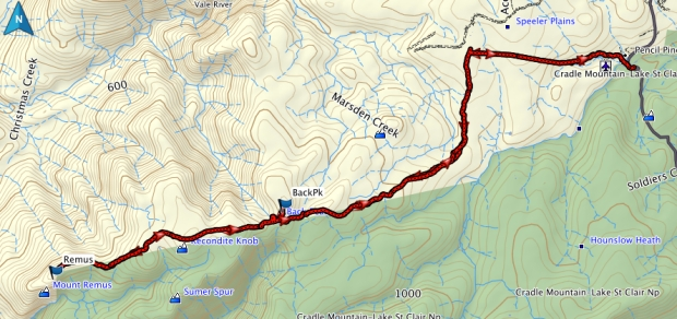 Back Peak, Recondite Knob, Mount Remus GPS route