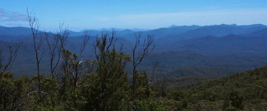 View of the Eldon range from just north of the summit