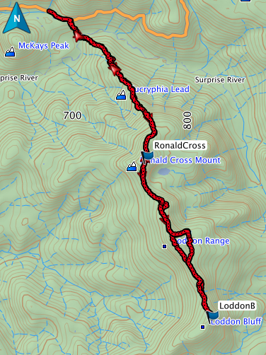 Ronald Cross and Loddon Bluff GPS route