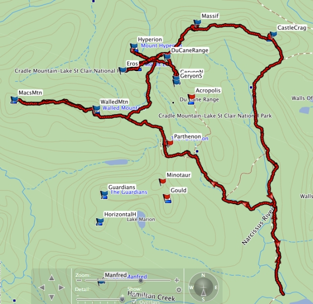 Du Cane Range GPS route. Camp sites at Walled (1 + 2), above Lake Helios (3 + 4), Massif (5) and Falling (6).