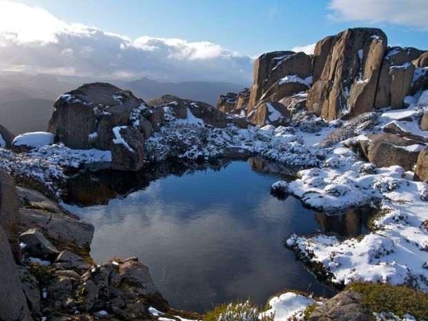On the 'summit ridge'.. one of many lovely little pools, right on the edge.