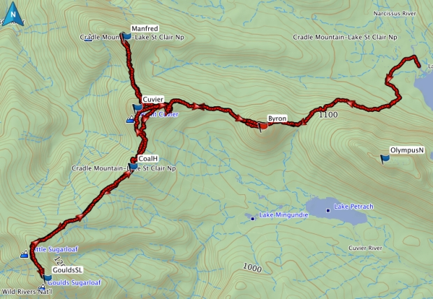 Byron, Cuvier, Manfred, Coal Hill, Goulds Sugarloaf GPS route