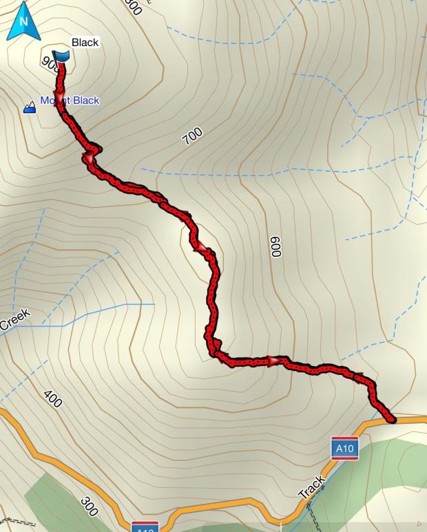Mount Black GPS route