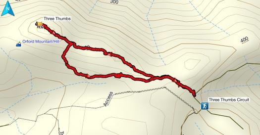 Three Thumbs GPS route