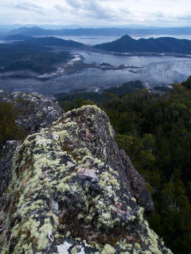 Summit cairn and Lake Gordon