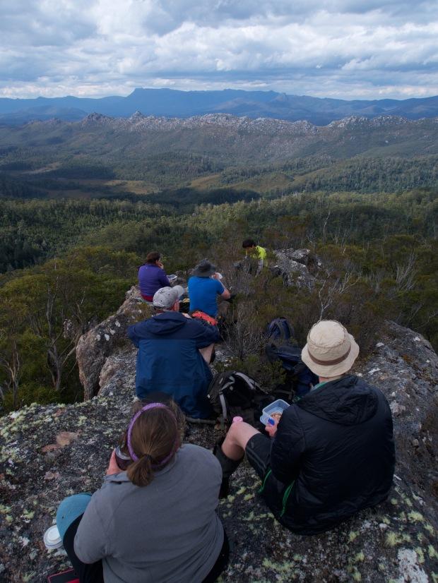 A bite to eat on top, and a view of Mt Field to admire. Saw Back range in front.