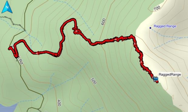 Ragged Range GPS route