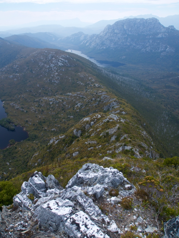 Looking back down the steep ridge from Conical Mountain, towards Lake Curly