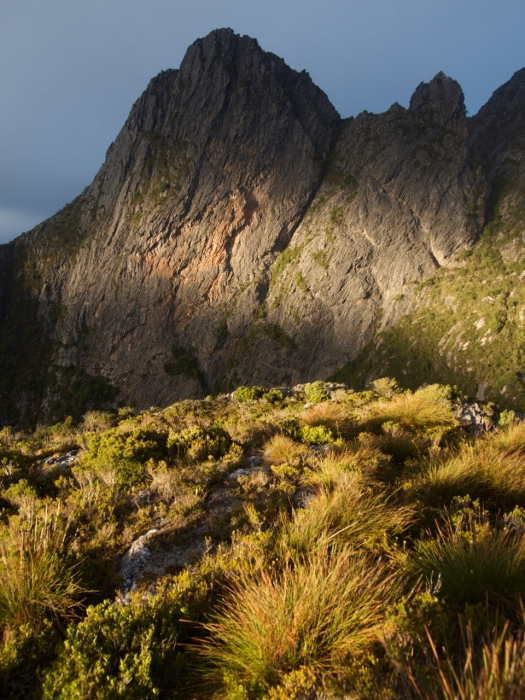 But a moment in time, early morning sun lights up Flame Peak