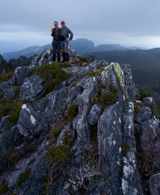 Graham and John celebrate the summit of Flame Peak