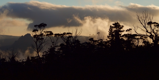 The morning we're due to leave - cloud, sun and mountains put on a show.