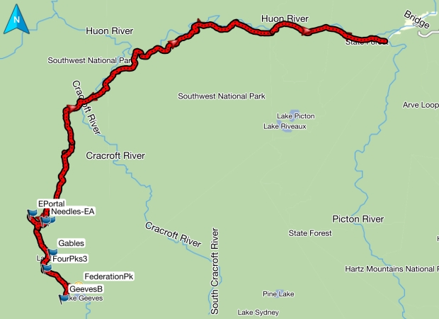 Eastern Arthurs GPS route