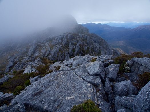 Sorell's summit under cloud as we approach