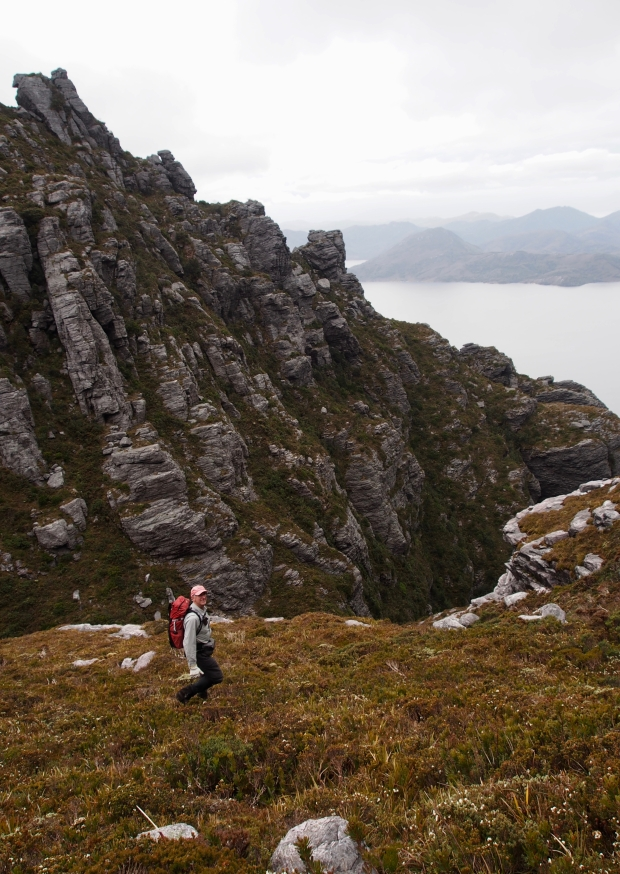 Heading back, descending into the gully at the saddle between Secheron and Frankland