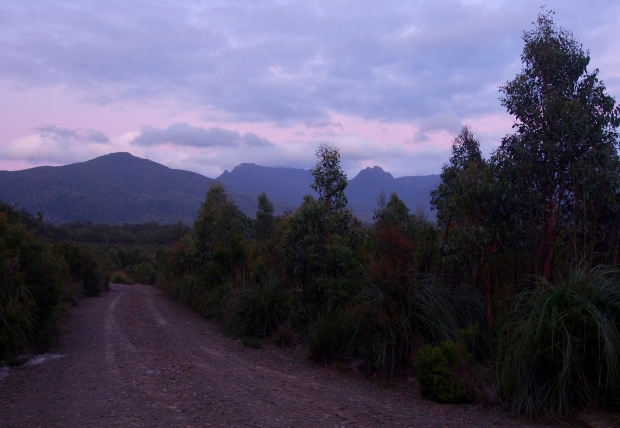 We knew we were in for a long trip out to that mountain on the left, so we set off at first light (or there abouts).