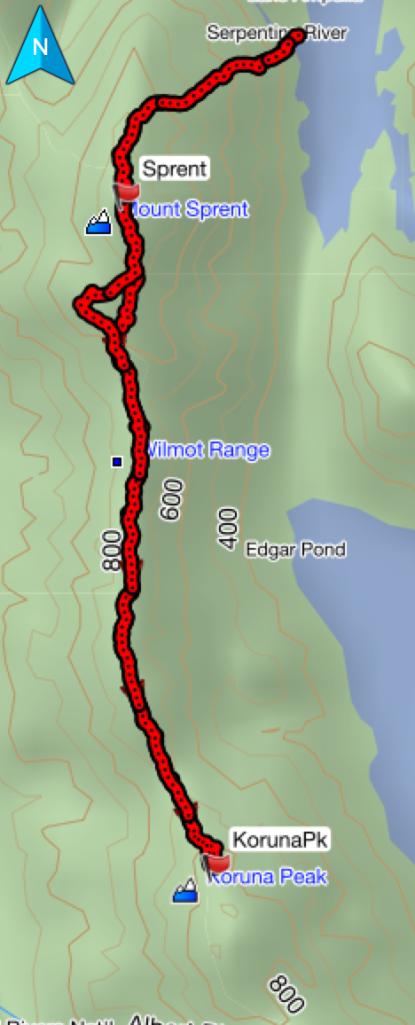 GPS route to Koruna