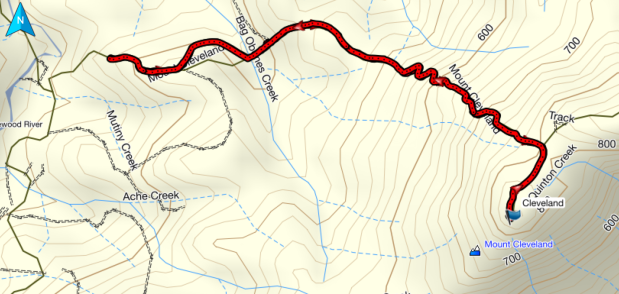 Mount Cleveland GPS route